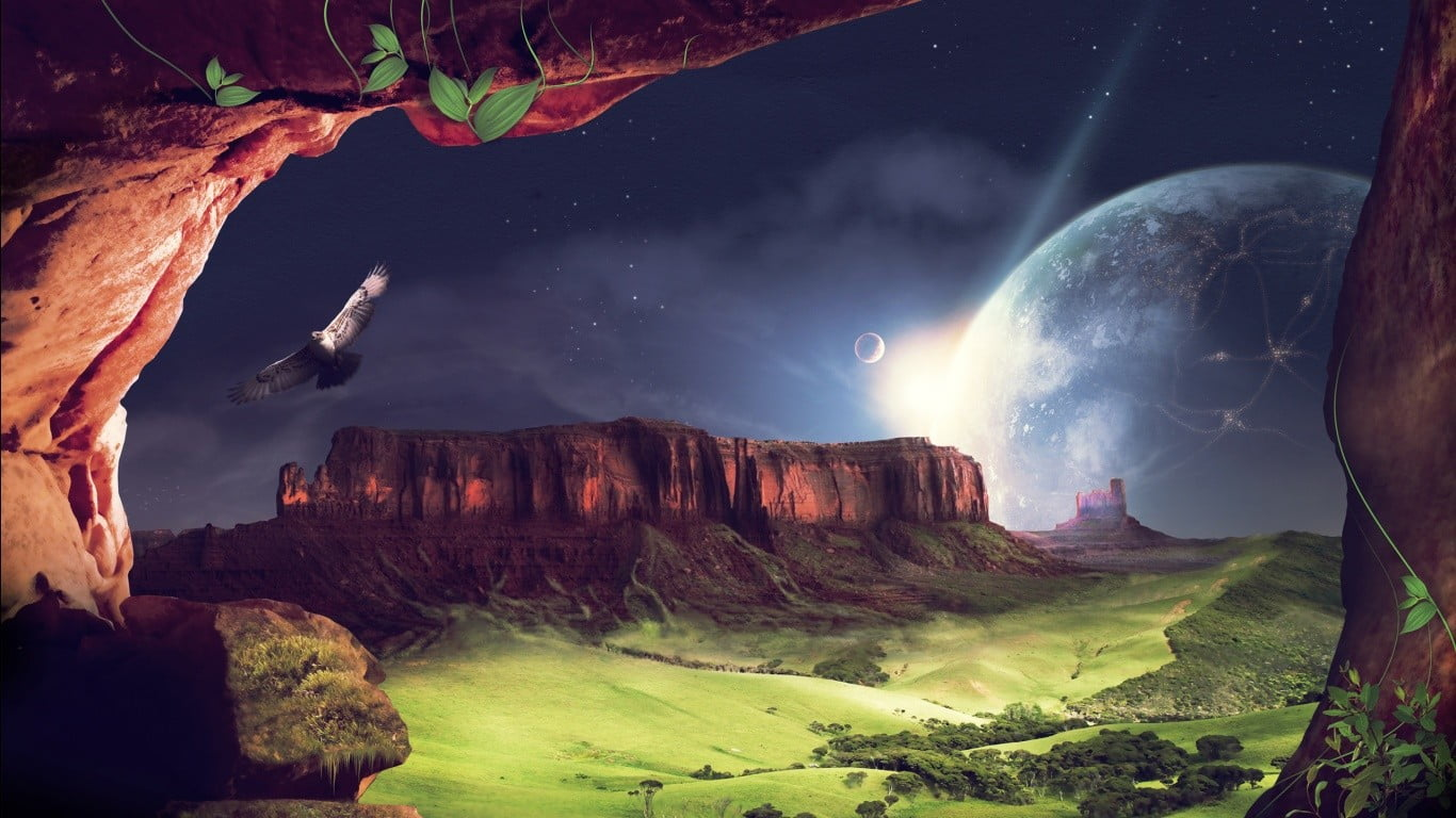 Eagle Flying Beside Rock Momentum With Full Moon Illustration 1366x768