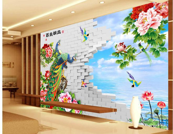 papel de parede Peony TV wall painted peony flower design 3d wallpaper 660x511