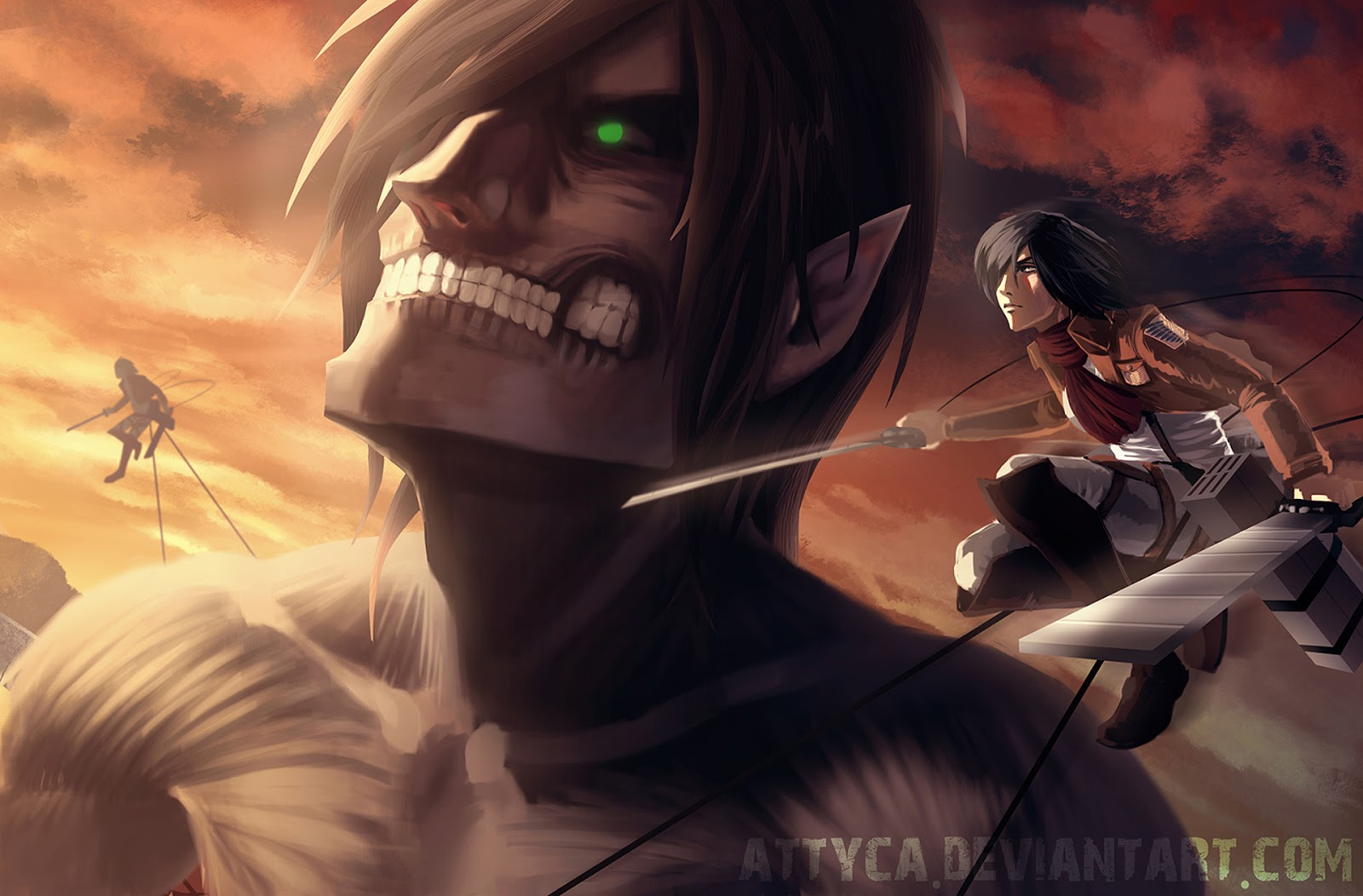 Free Download Eren Jaeger Titan Form Mikasa Ackerman Attack