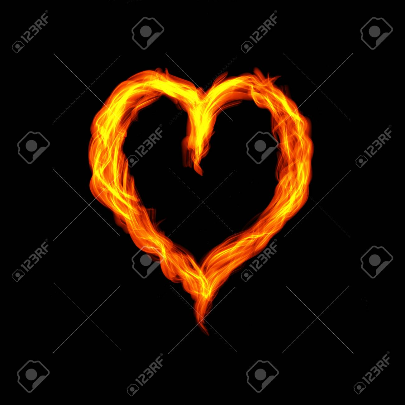 Hot Fire Heart Burning On Black Background Passion And Desire 1300x1300