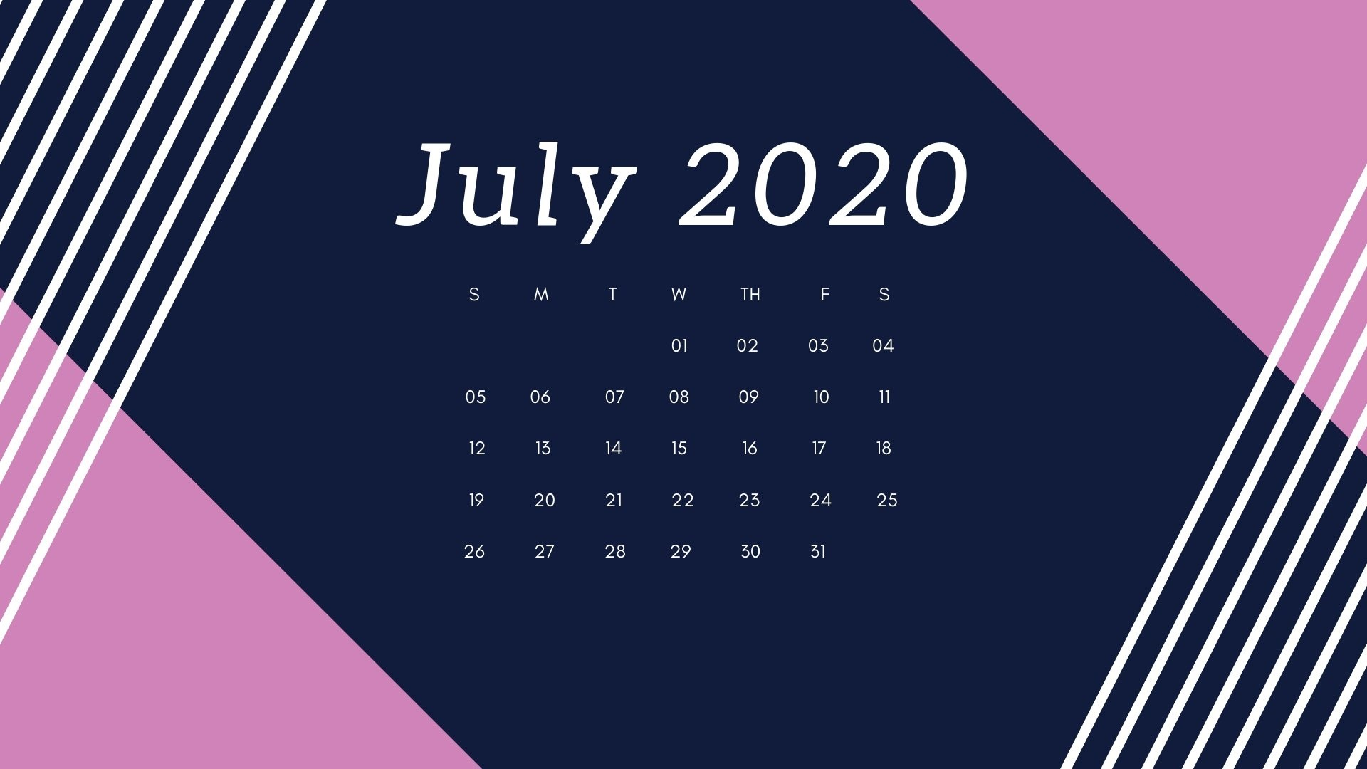 July 2020 Calendar Printable Monthly Template PDF Excel 1920x1080