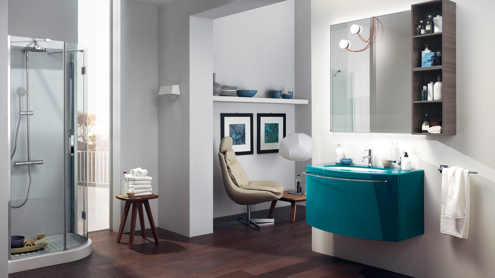 Color Vanity Wallpaper On Chic Colorful Bathroom Interior Makeup 1680x945