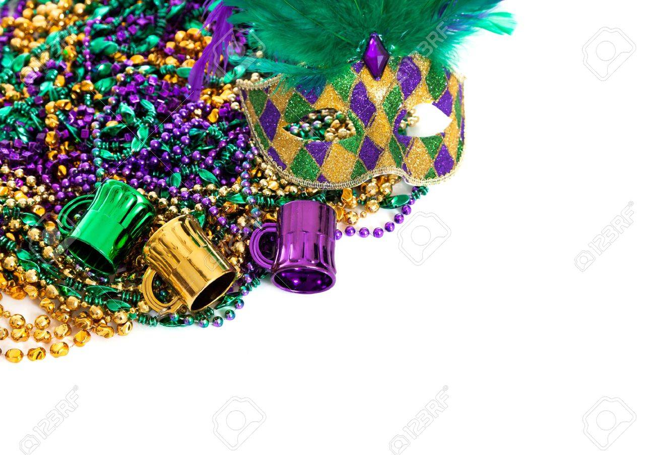 Assorted Colored Mardi Gras Beads On A White Background With 1300x904