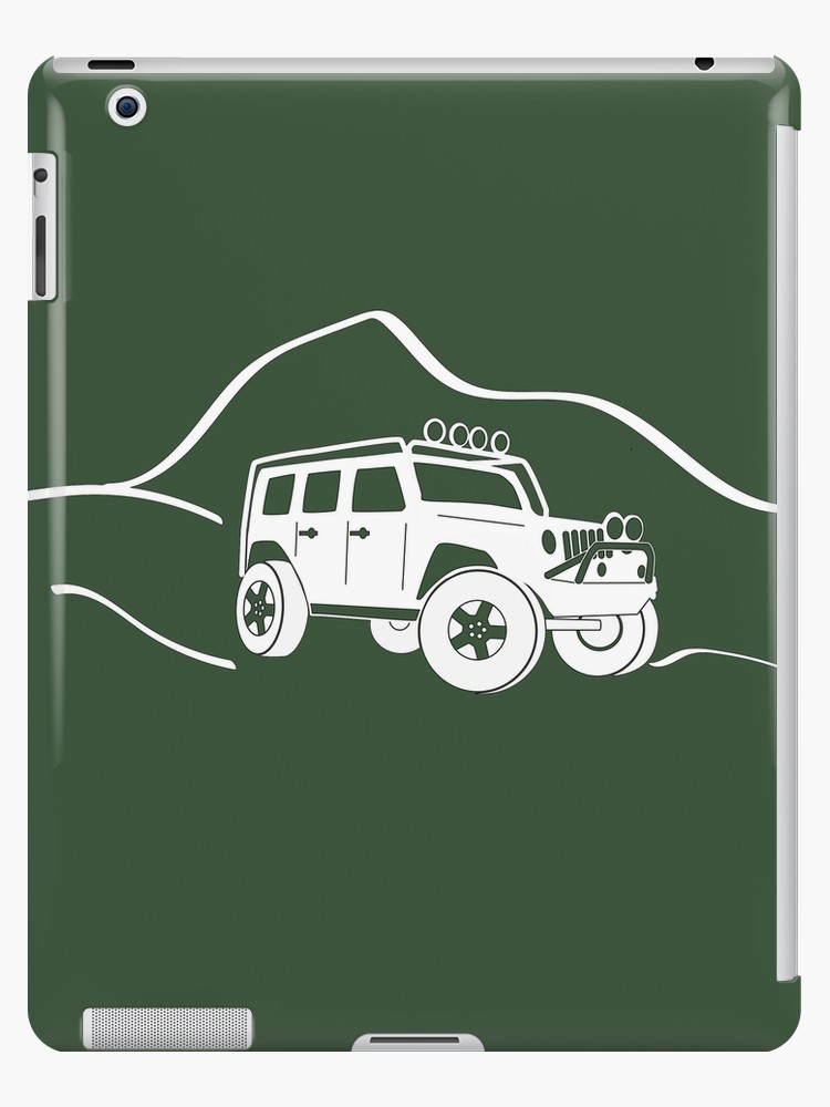 Jeep Wrangler JK With Mountain Background Tee Sticker   White 750x1000