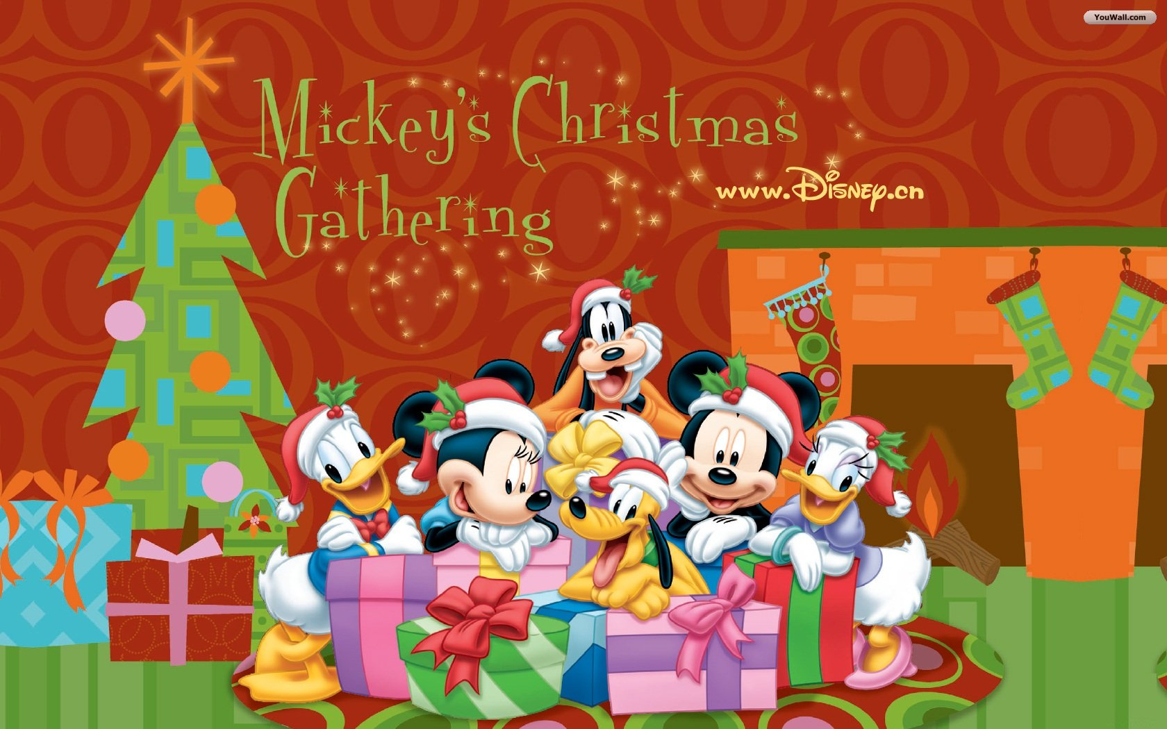 disney mickey mouse with santa claus christmas wallpaper 1680x1050 - Merry Christmas Mickey Mouse