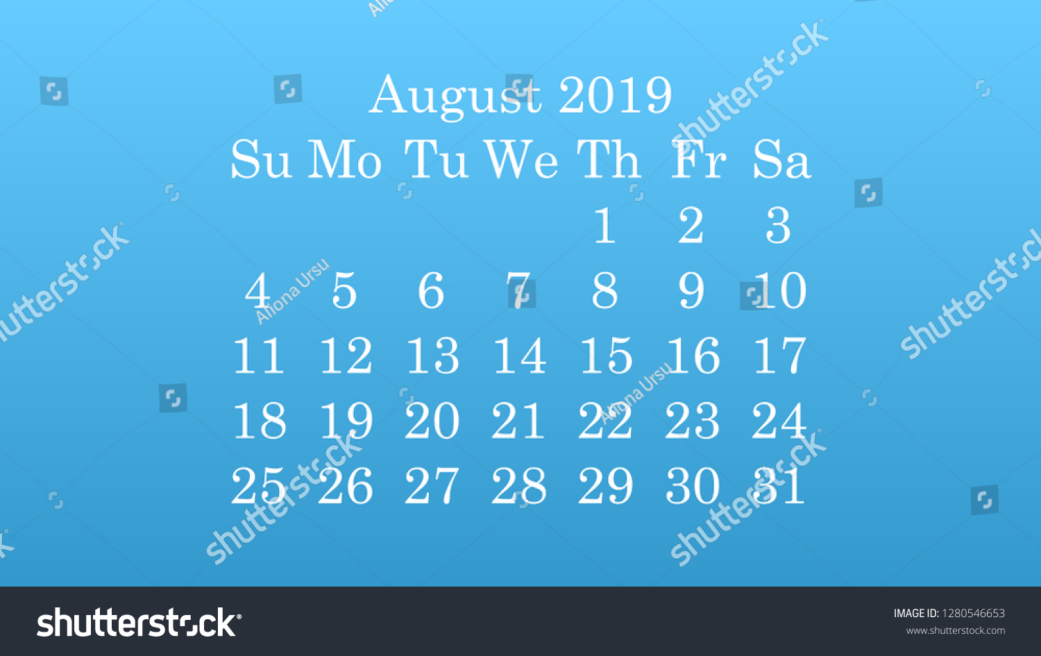August 2019 Desktop Wallpaper Calendar 2019 Stock Vector Royalty 1500x945