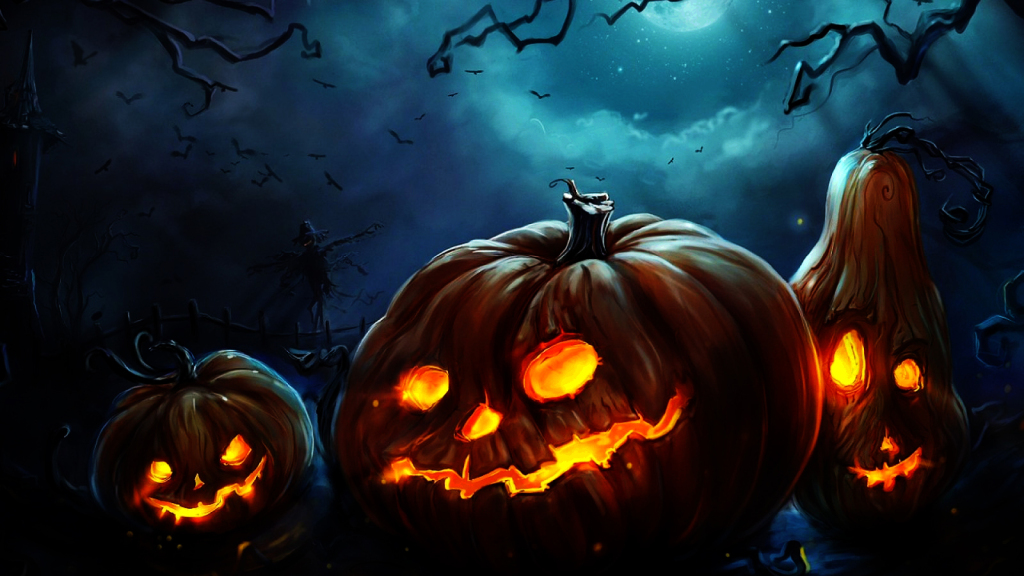 Happy Halloween Pumkins Fire HD Wallpaper   StylishHDWallpapers 1024x576