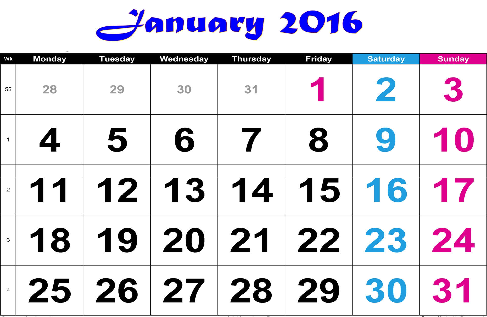 January 2016 Calendar Wallpaper   HD Wallpapers Backgrounds of Your 1920x1250