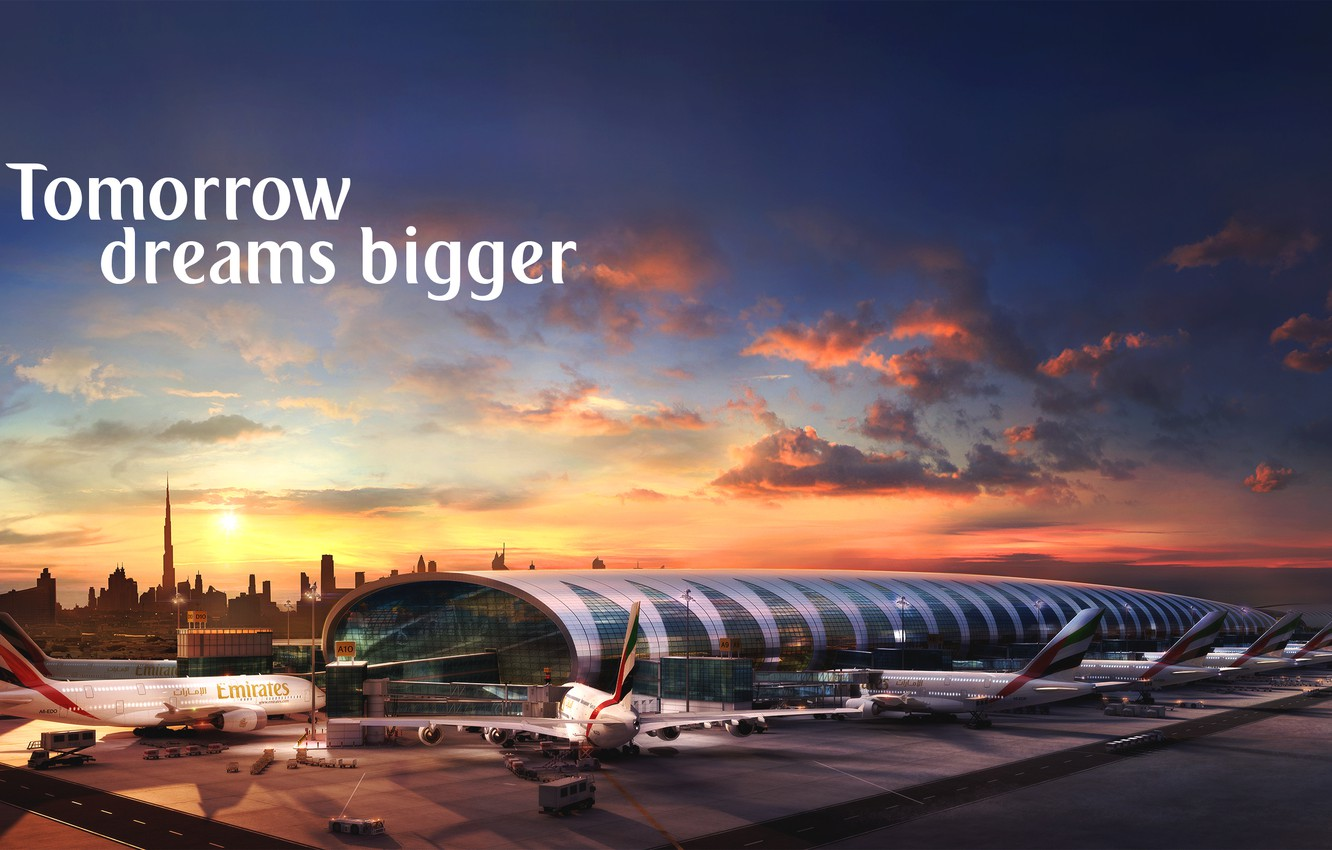 Wallpaper Sunset The sun The sky Clouds The plane Airport 1332x850