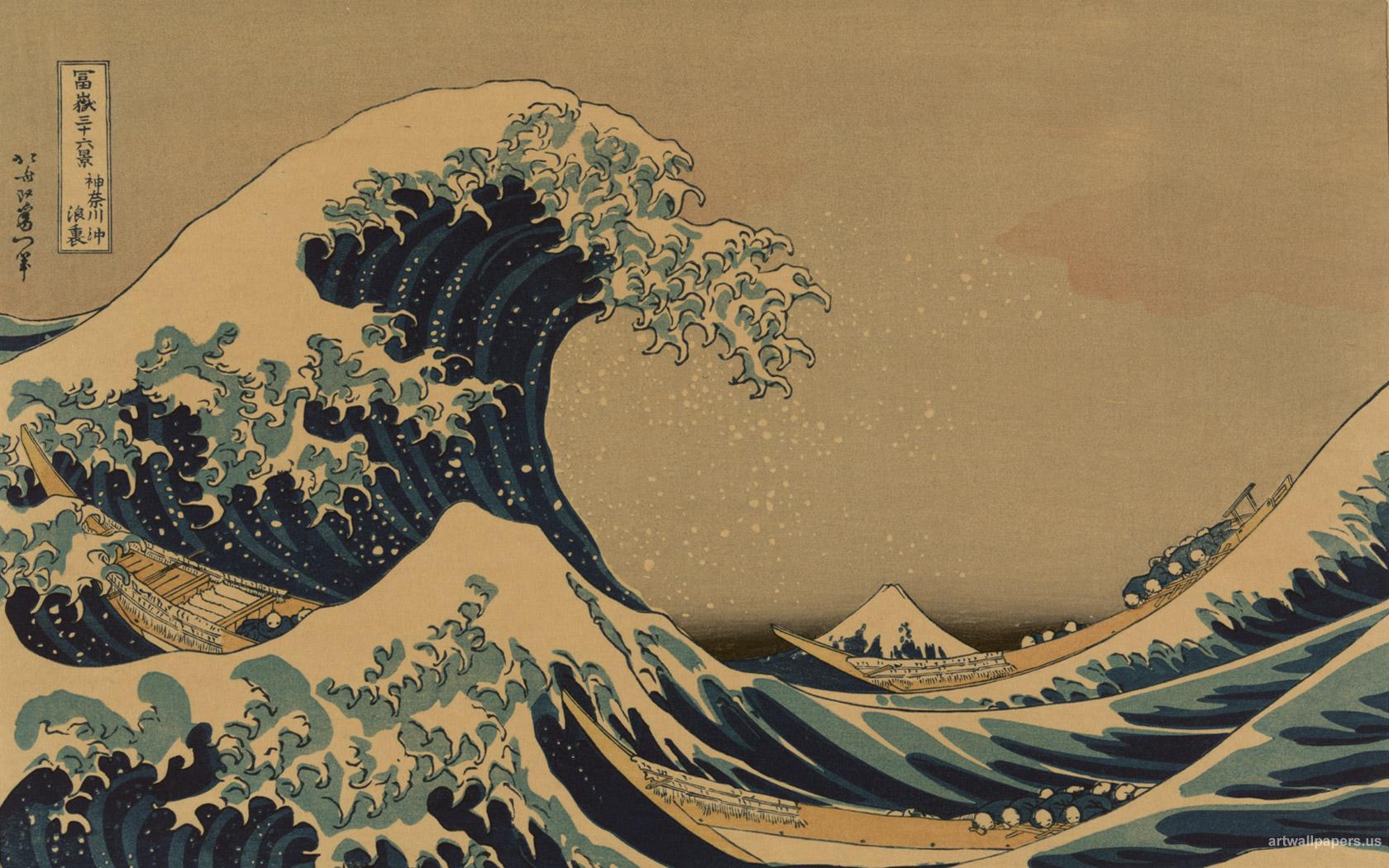 Hokusai Wallpaper The Great Wave at Kanagawa Art Print Wallpapers 1680x1050