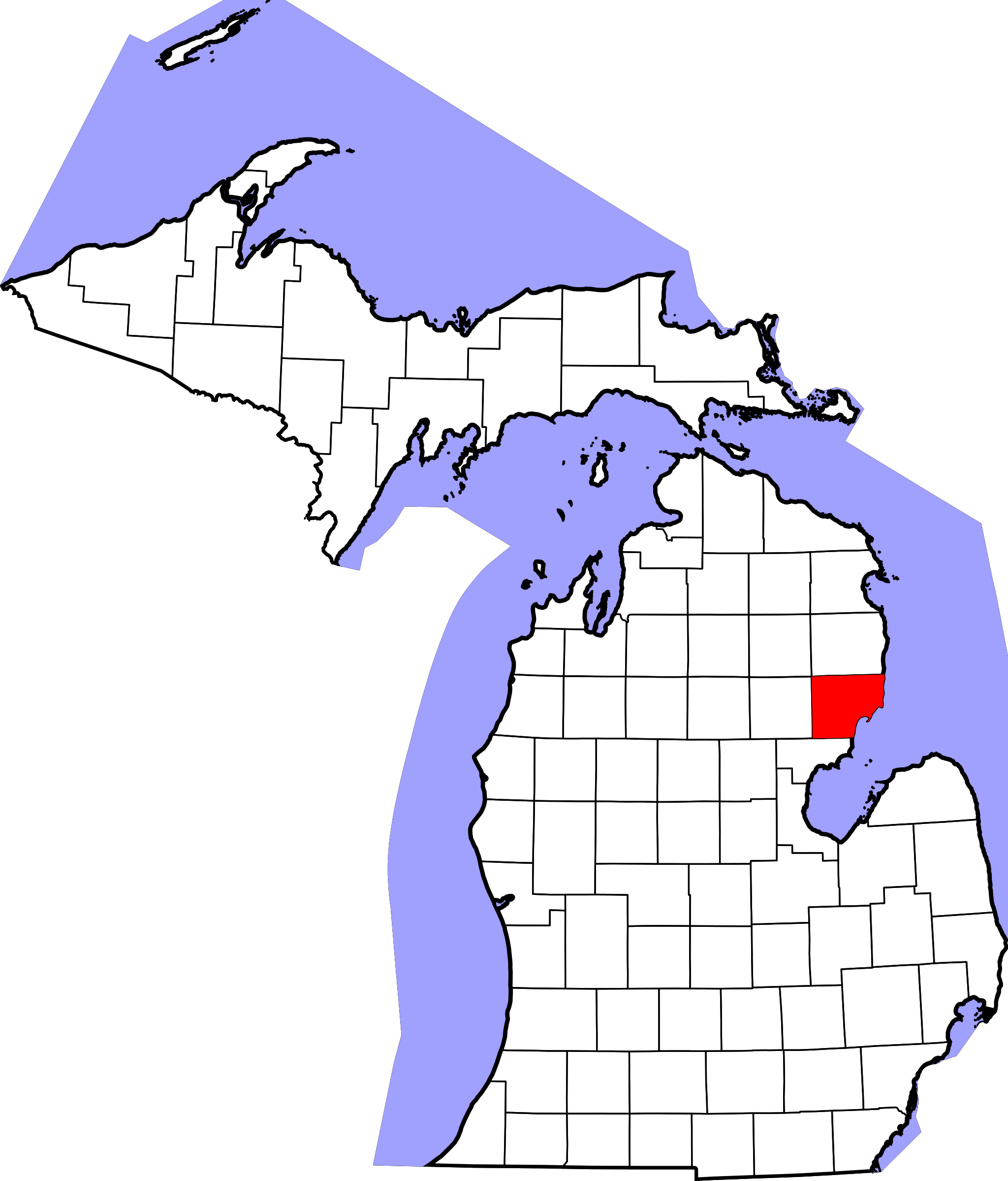 michigan county maps with township and range michigan county maps 2048x2398