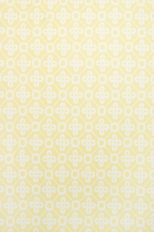Peggy Wallpaper Light Yellow wallpaper with white trellis design and 534x801