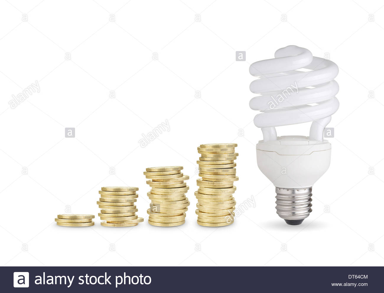 Money saved with energy saver bulb Isolated on white background 1300x992
