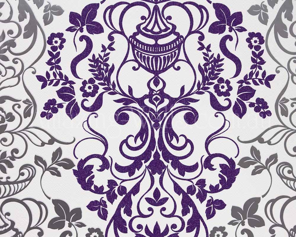 Dark Blue Damask Wallpaper: Silver And Purple Wallpaper