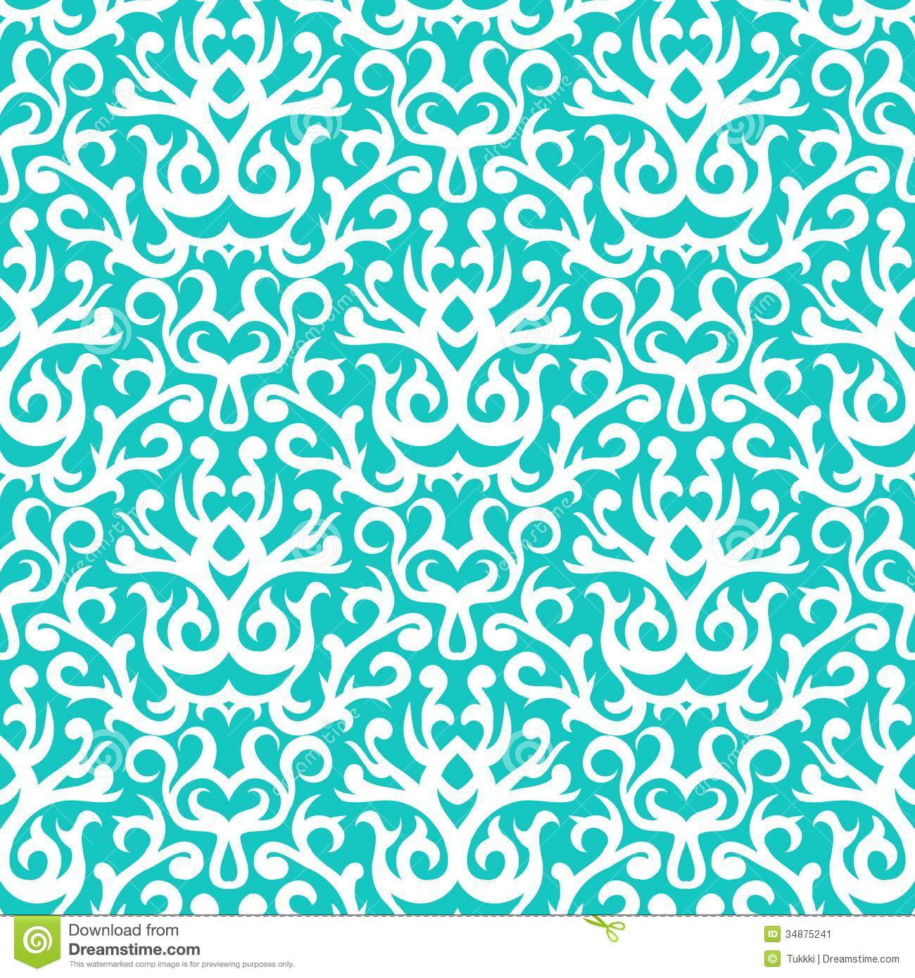 Damask Pattern In White On Turquoise Stock Image   Image 34875241 1300x1390