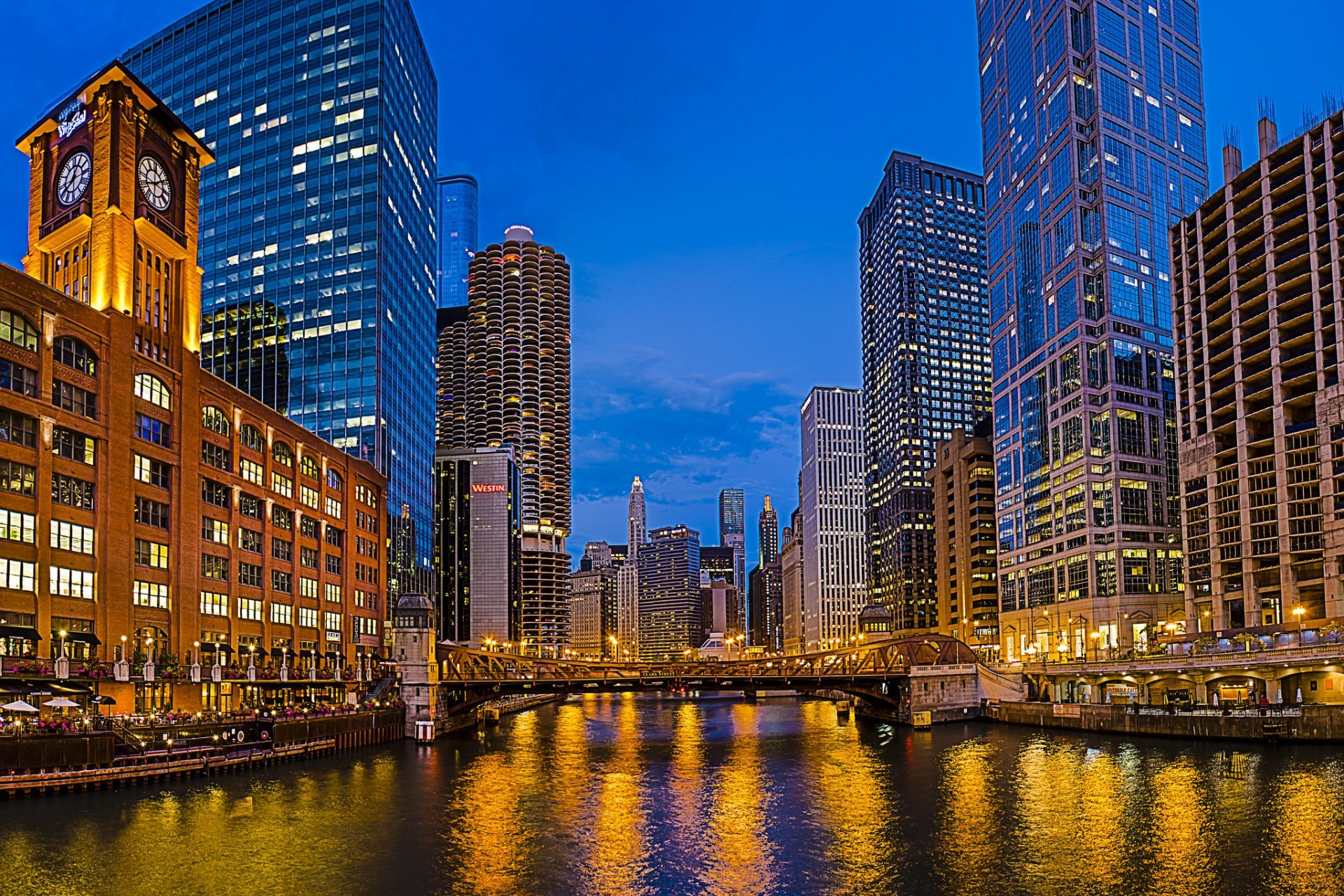 Chicago Illinois USA city night skyscraper buildings river lights 1920x1280