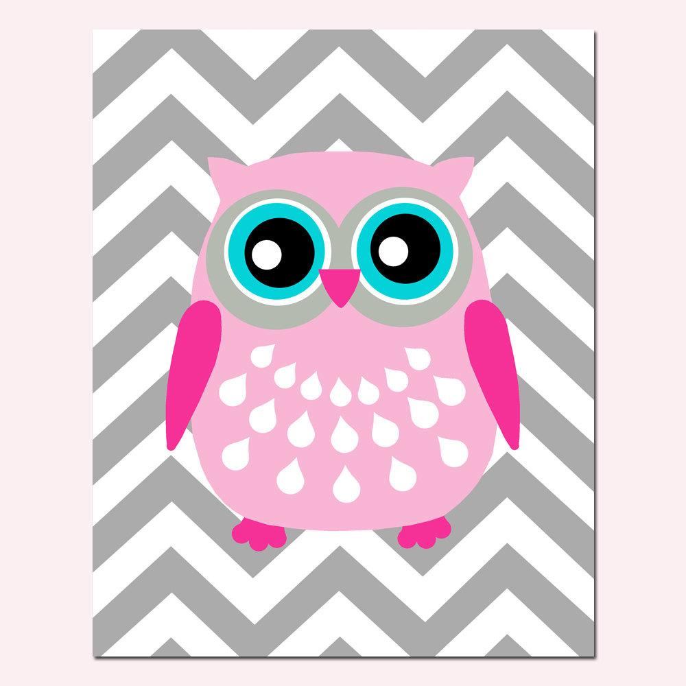 Modern Chevron Owl Silhouette Print 8x10 Chevron Zig by Tessyla 1000x1000