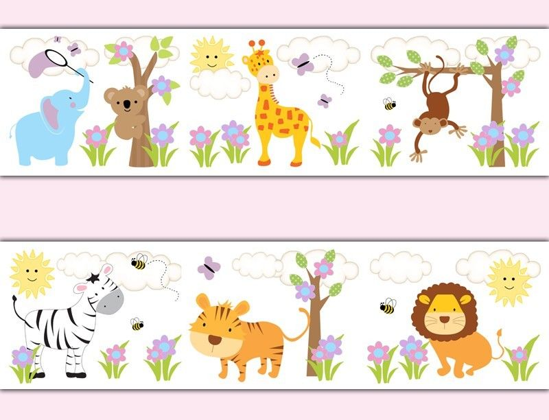 Jungle Animals Wallpaper Border Decals Baby Girl Nursery Safari Room 800x612
