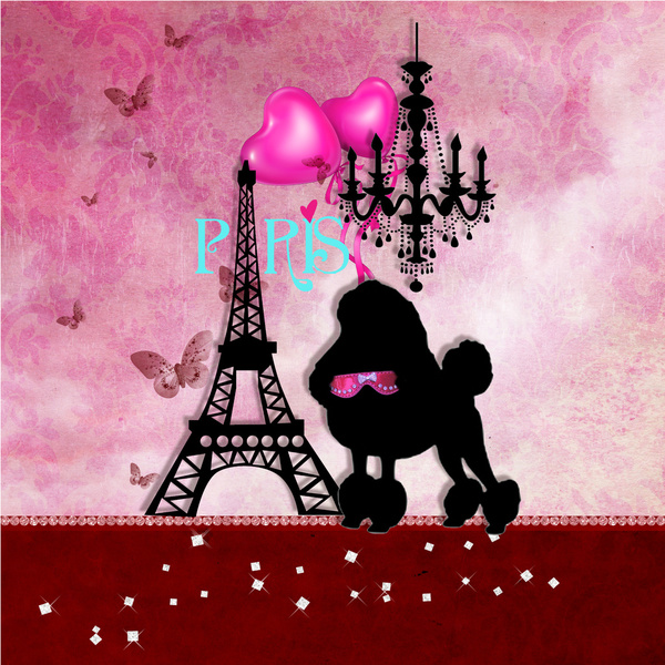french paris girly chic poodle eiffel tower damask and cute   Quoteko 600x600