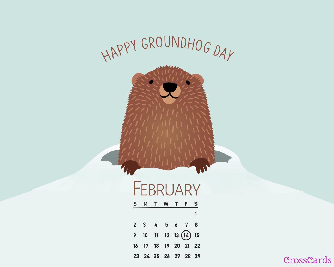 February 2020   Groundhog Day Desktop Calendar  February 1280x1024