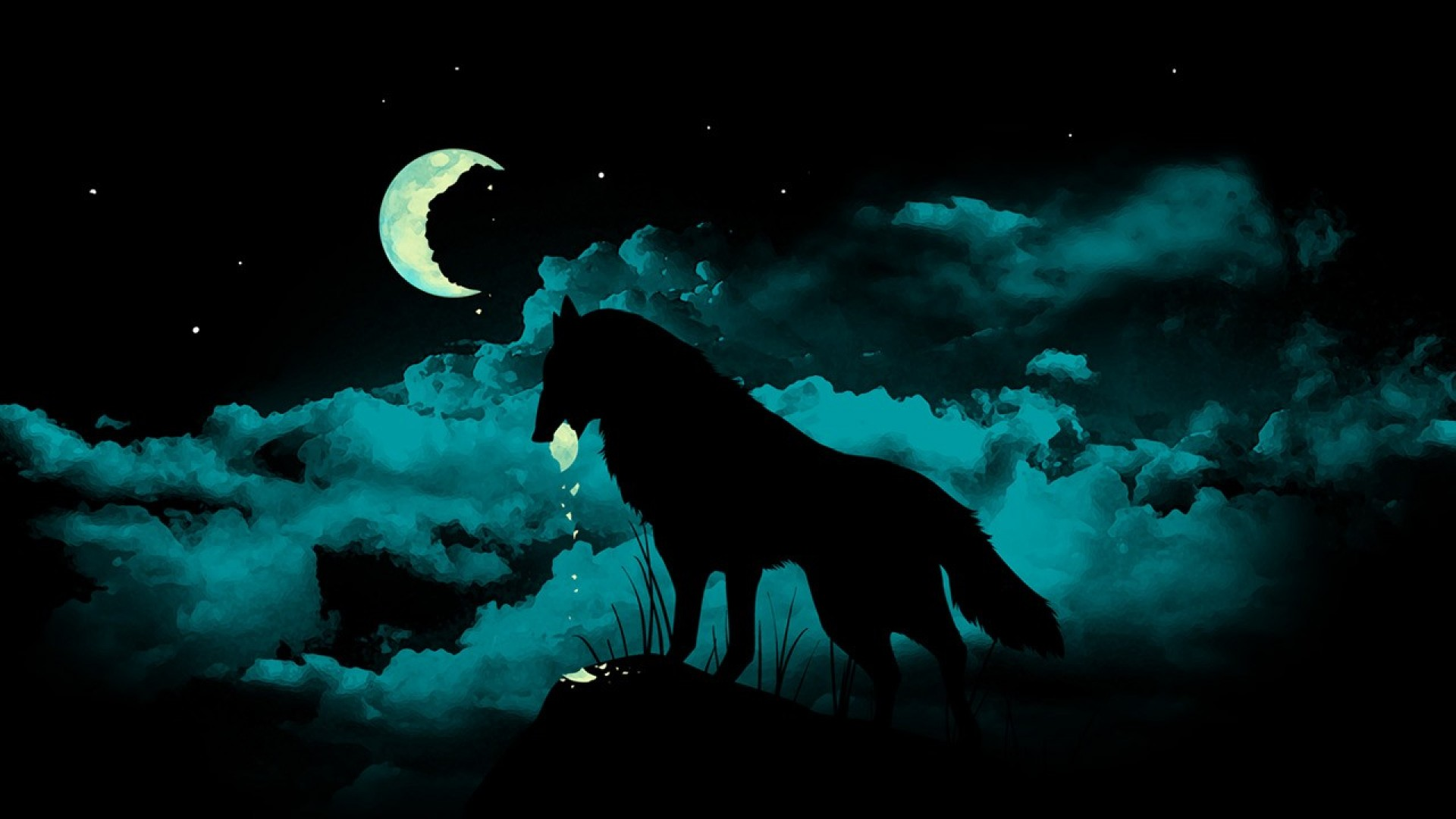 White Wolf Moon Wallpaper