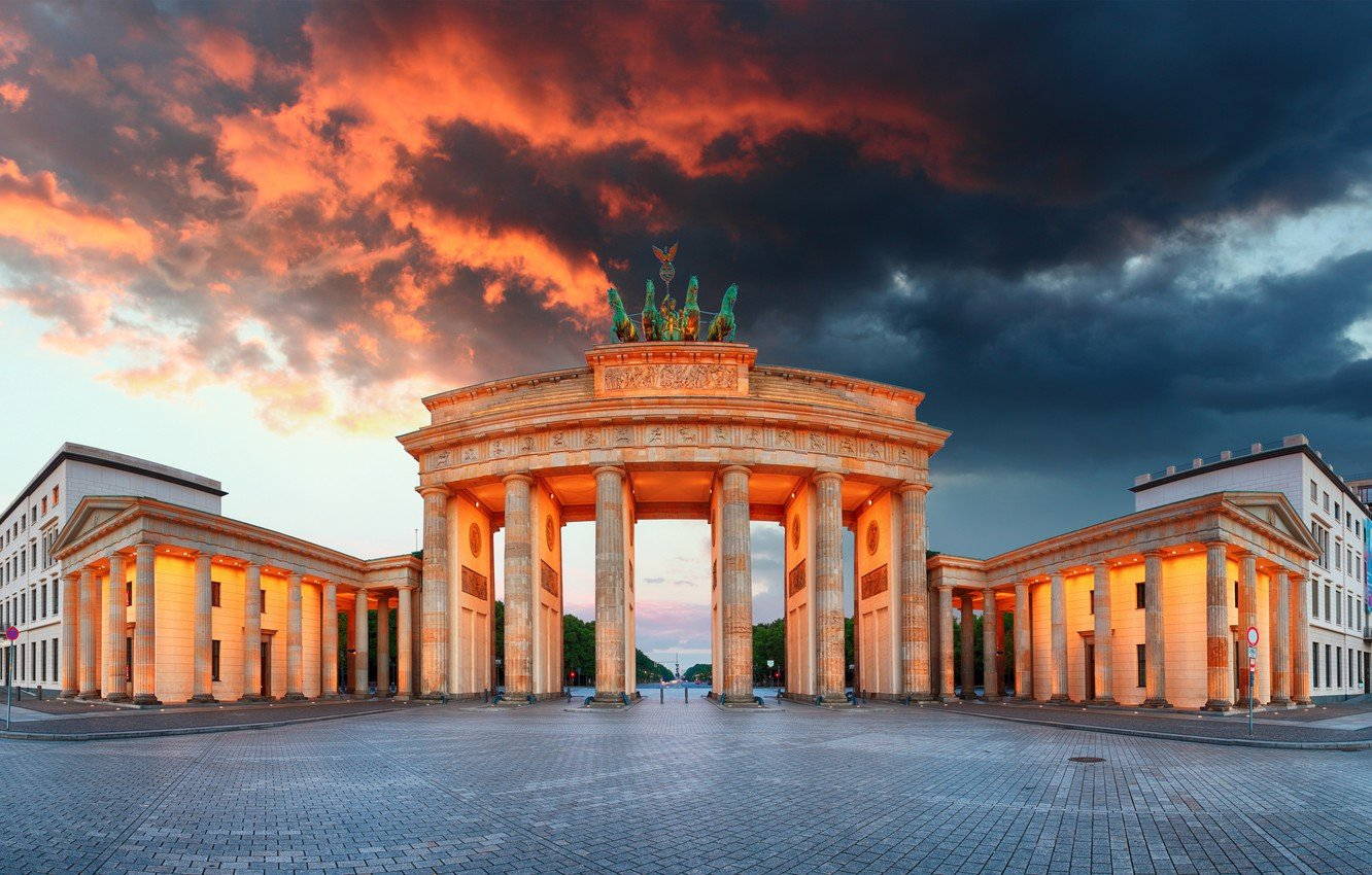 Wallpaper the sky clouds lights the evening Germany area 1332x850