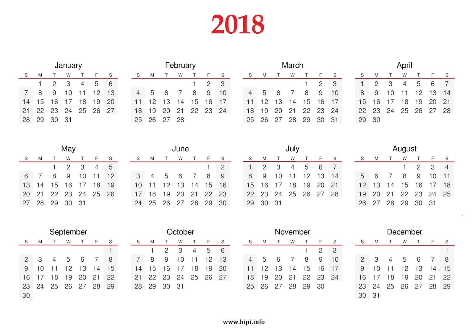 download 2018 calendar