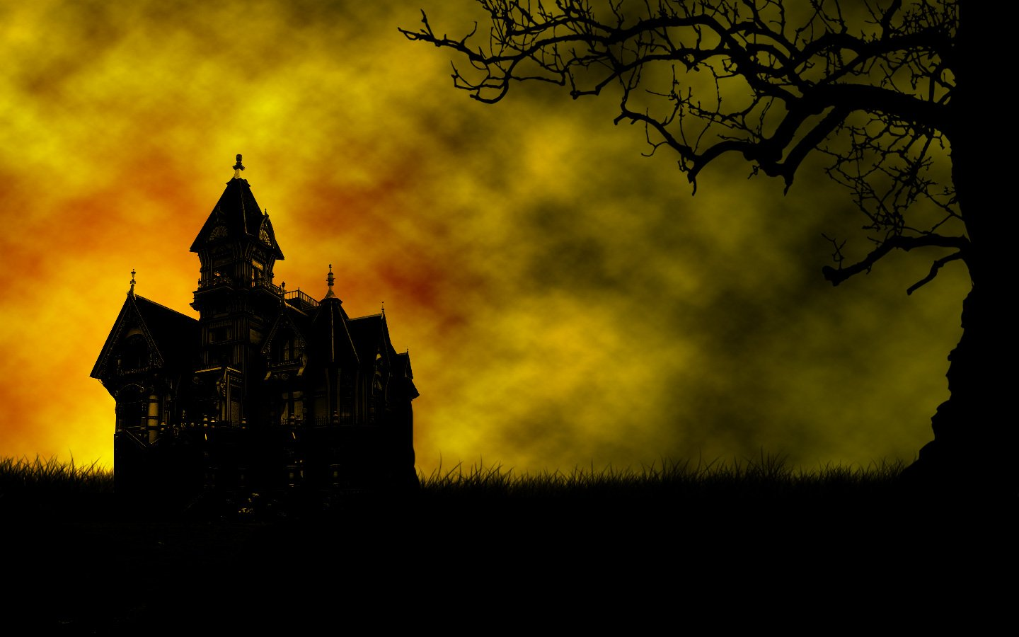 Background With Haunted House Scary And Creepy Pictures 1440x900