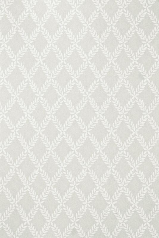 Esme Wallpaper Grey wallpaper with white Laurel Leaf trellis design in 534x801