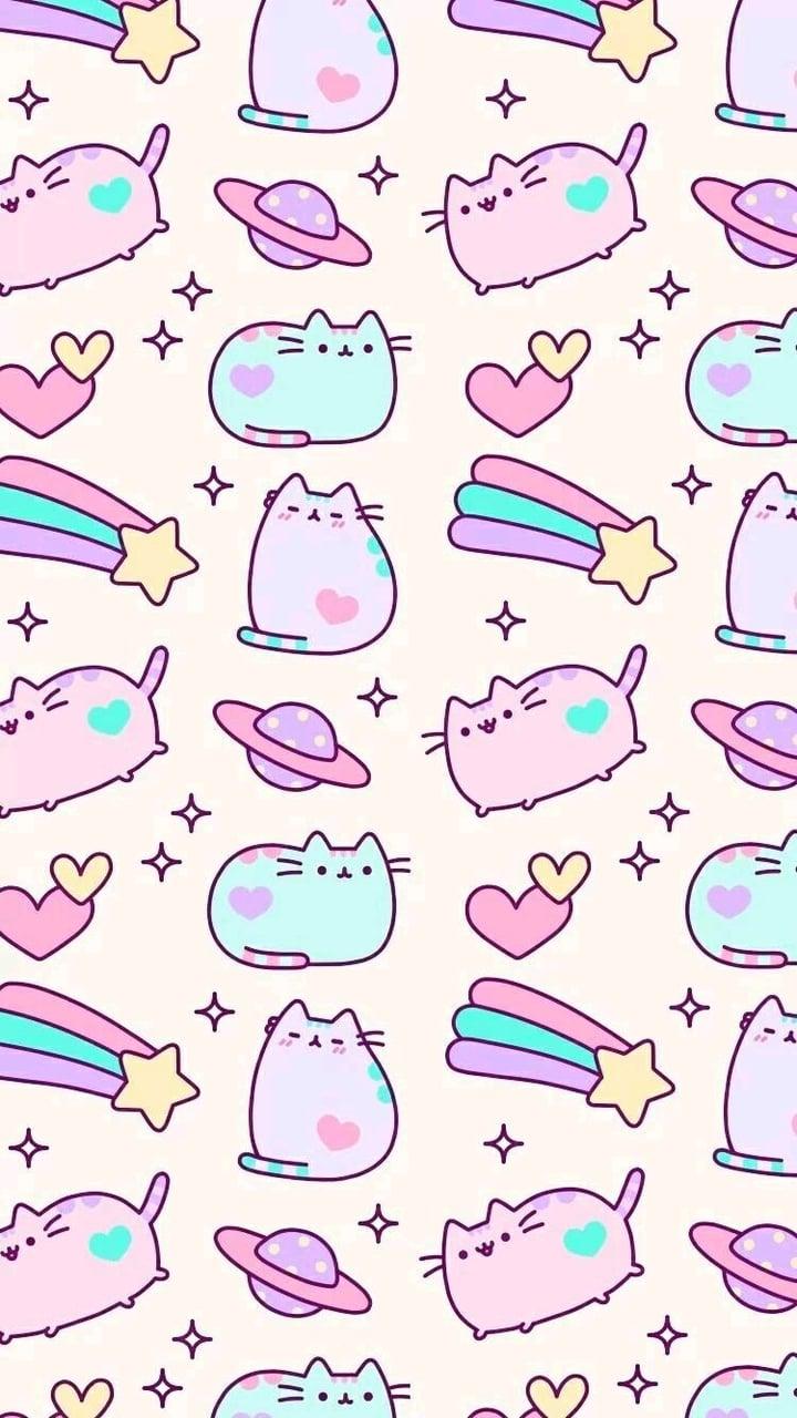 Pusheen pattern shared by MarvelousGirl94 on We Heart It 720x1280