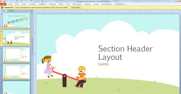 One of the layouts inside this template for kids in PowerPoint 580x303