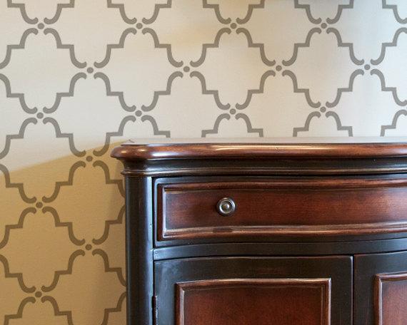 Moroccan Wall Stencil Small Moorish Trellis Allover Stencil for 570x456
