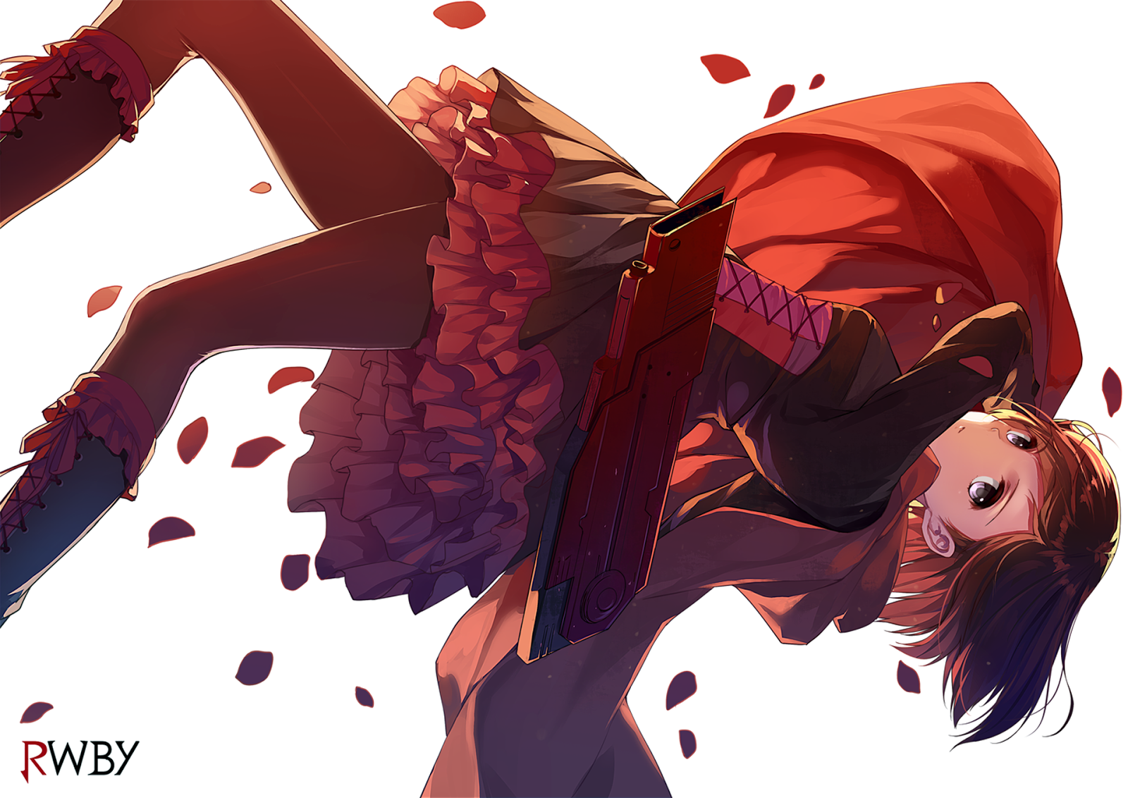 Ruby Rose RWBY Petals Red Cape Girl Female Anime HD Wallpaper Desktop 1600x1132