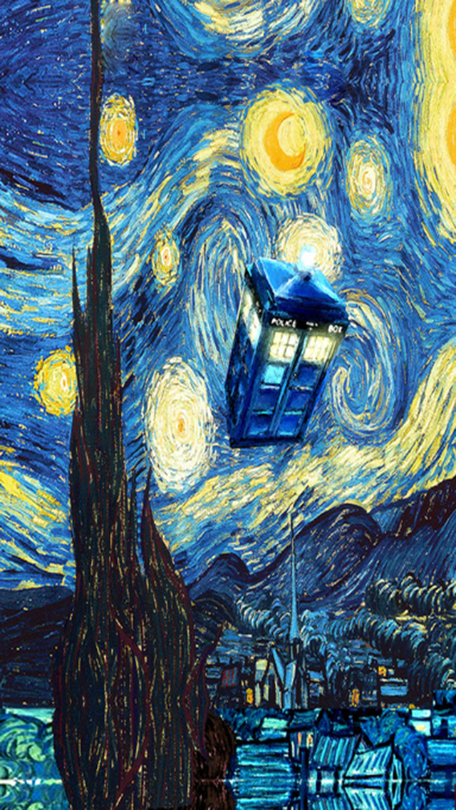 Starry Night Tardis iPhone 5 Wallpaper 640x1136 640x1136