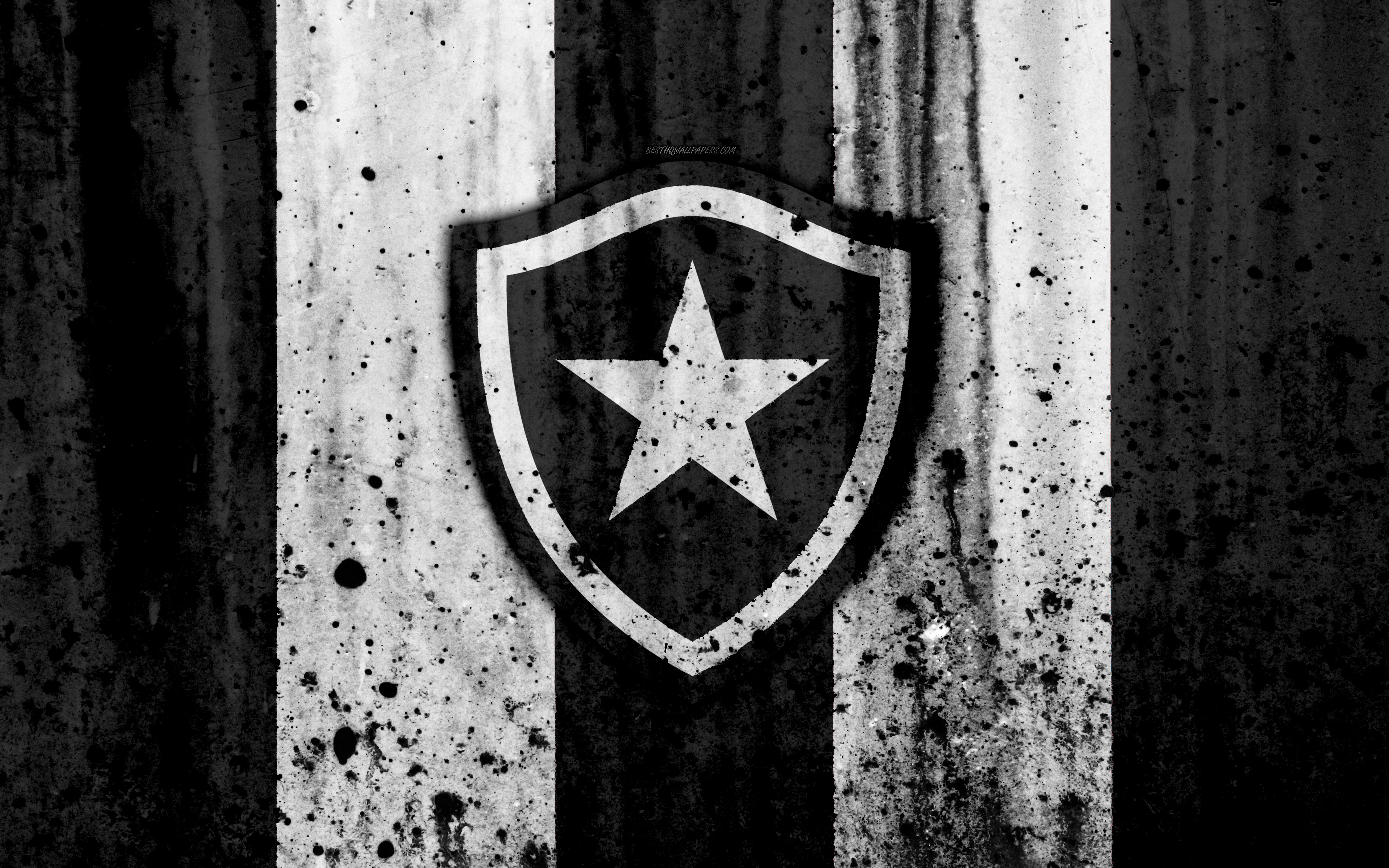 Download wallpapers FC Botafogo 4k grunge Brazilian Seria A 3840x2400