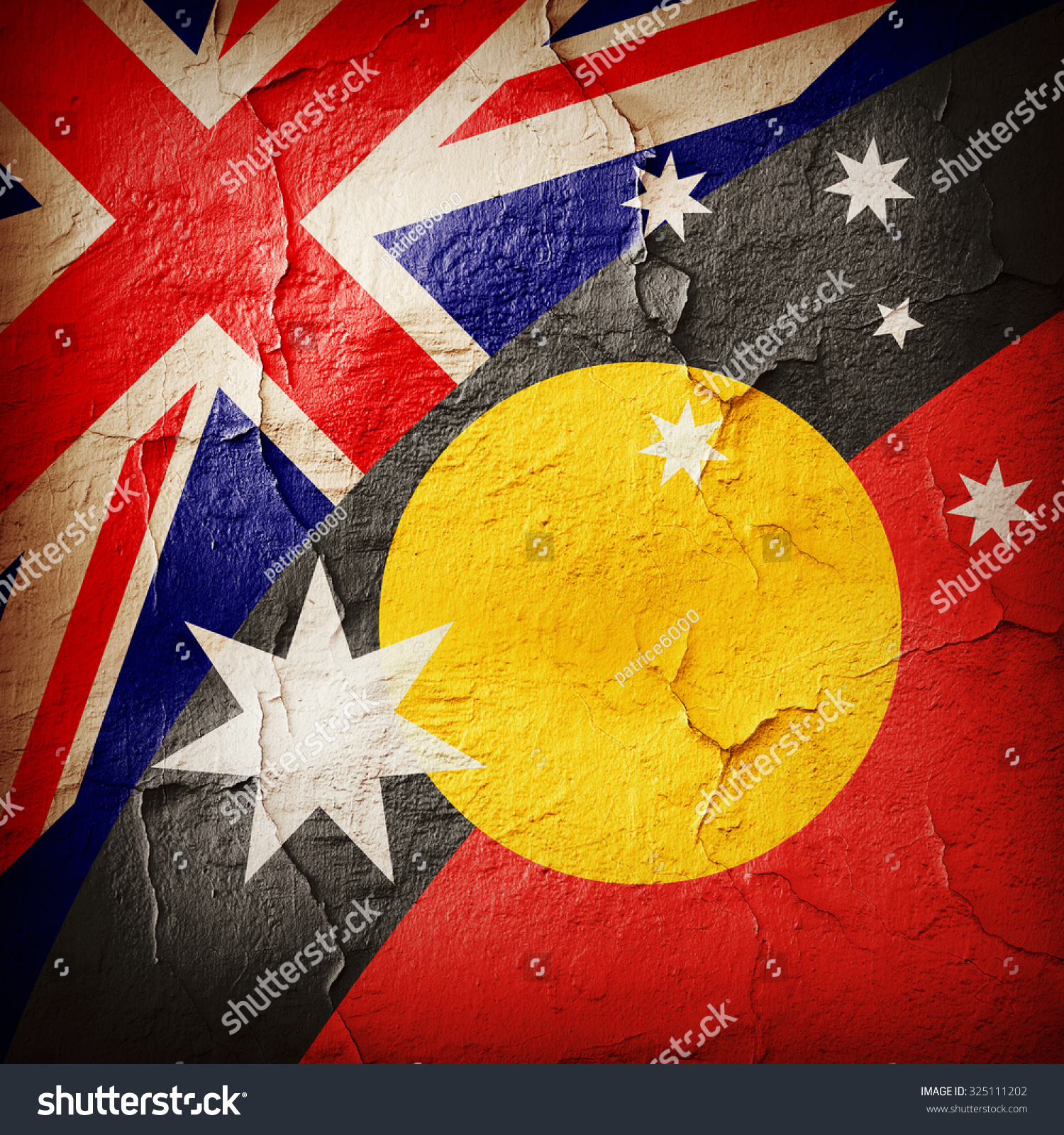 Australia Aboriginal Flags Wall Background Stock 1500x1600