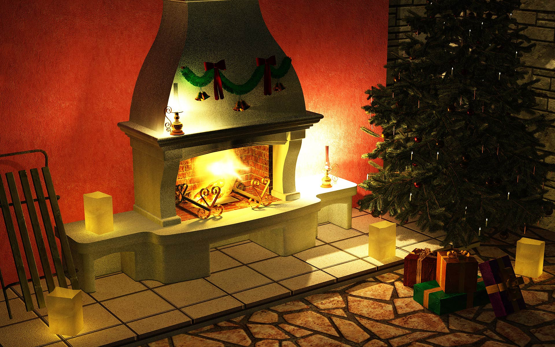 christmas fireplace fire holiday festive decorations rw wallpaper 1920x1200