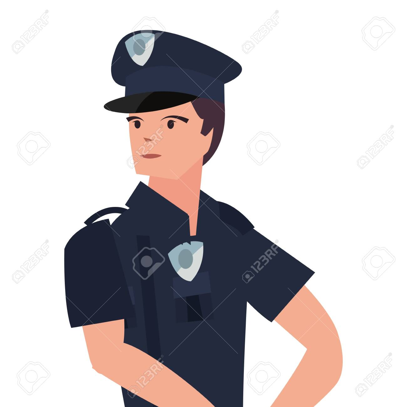 Policeman Character Portrait Uniform On White Background Vector 1300x1300