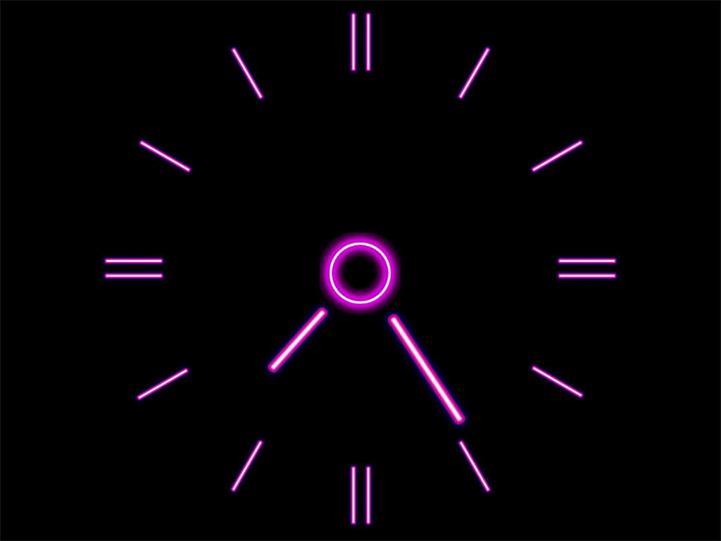 the movement of the clock hands every time in a different sharp color 1024x768