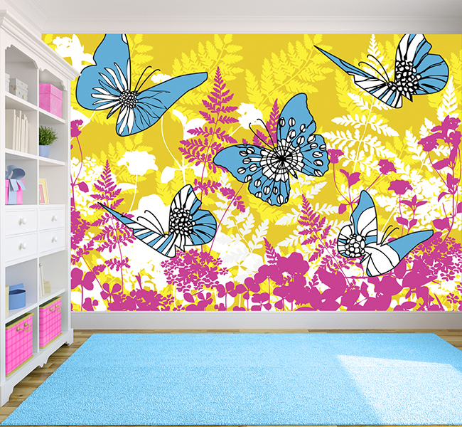 over beautiful florals Applied in the kids playroom this wallpaper 650x600