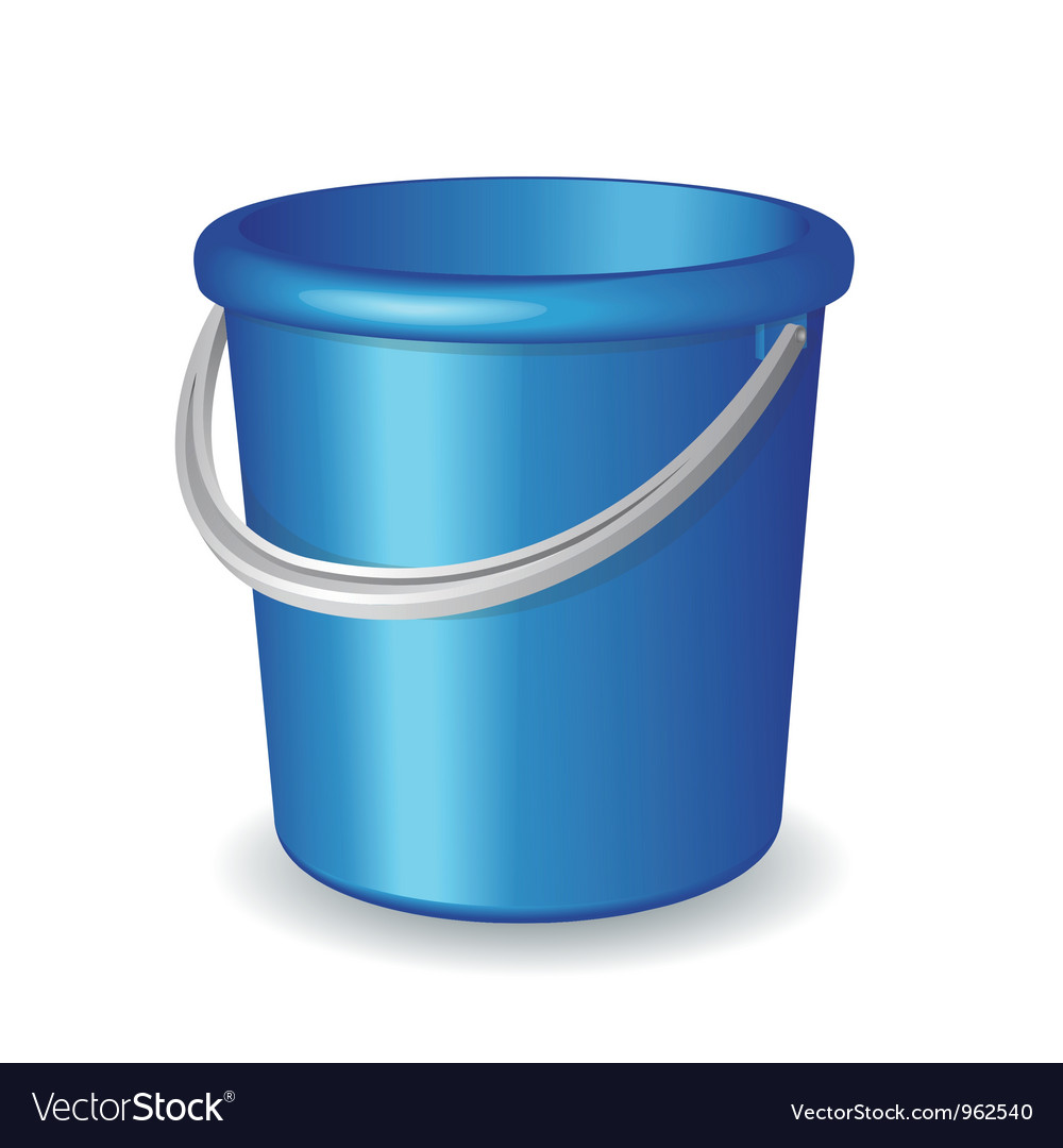 Blue plastic bucket isolated on white background Vector Image 1000x1080