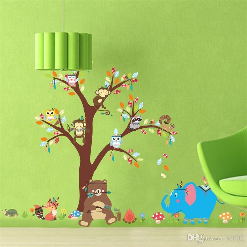 Kindergarten Background Wall Stickers Monkey Tree Kids Room 800x800