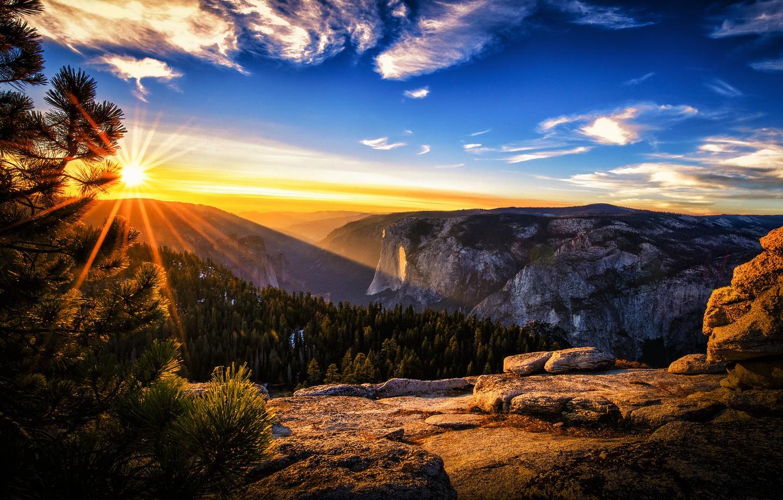 Wallpaper summer the sun rays morning CA USA Yosemite 1332x850