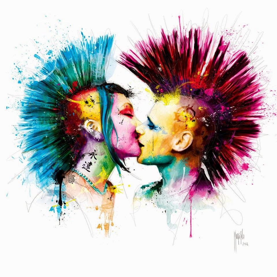 Colorful punk rockers kissing love mohawk music colors By Patrice 960x960