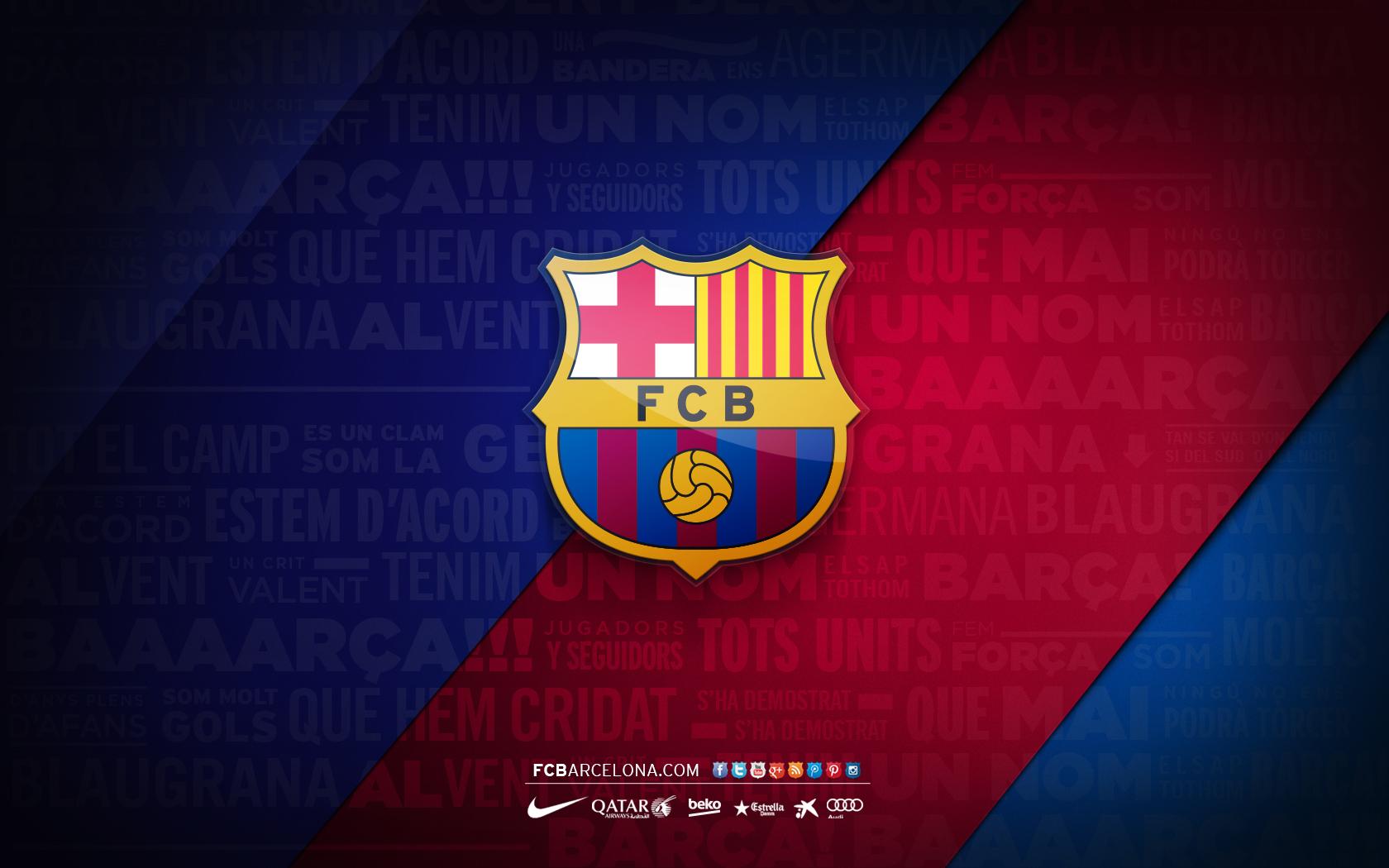 FCB crest 02   Wallpaper FC Barcelona 1680x1050