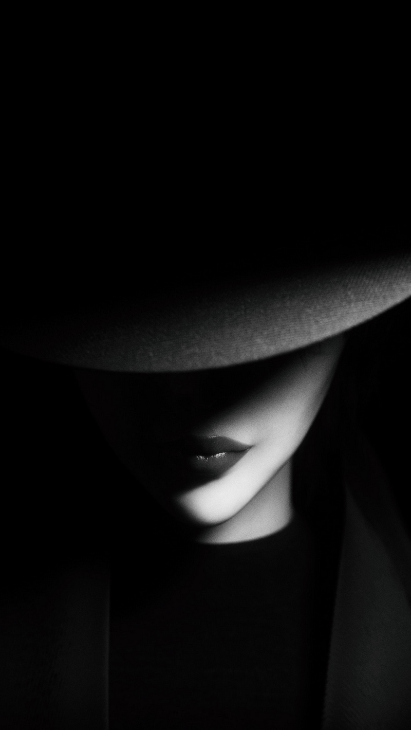 Download wallpaper 800x1420 girl hat bw dark shadows iphone se 800x1420
