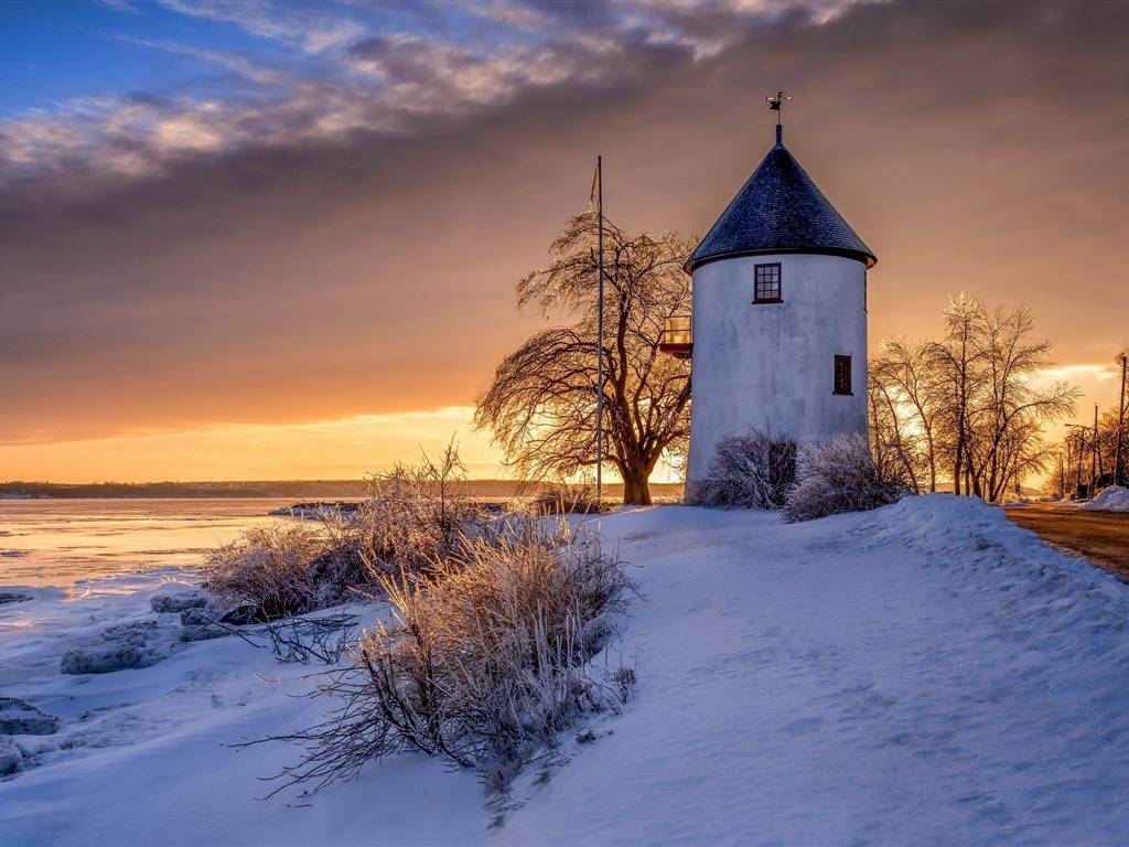 Wallpaper Canada windmill snow sunset winter 1920x1200 HD 1024x768