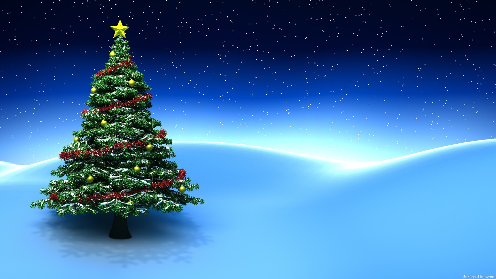 Beautiful christmas tree wallpaper - 3d Christmas Tree Blue Background Desktop Wallpaper