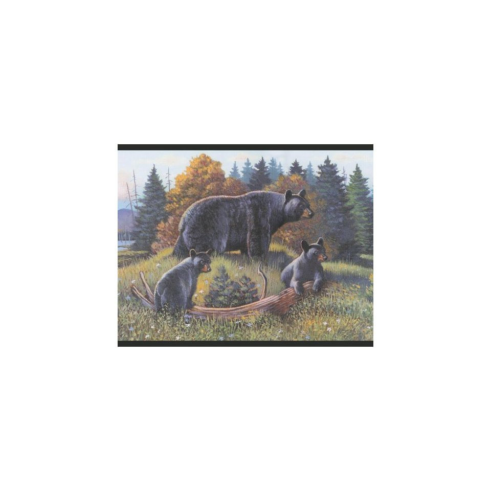 Black Bear and Cubs Lodge Wallpaper Border Log Cabin 960x960