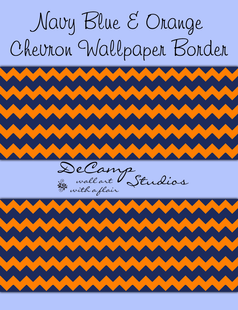 Navy Blue Orange Chevron Wallpaper Border Wall Decals Baby Boy [416 800x1039